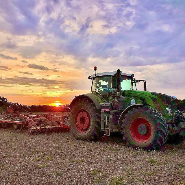 Simeon Morgan Contract-Farming Tractor at dusk