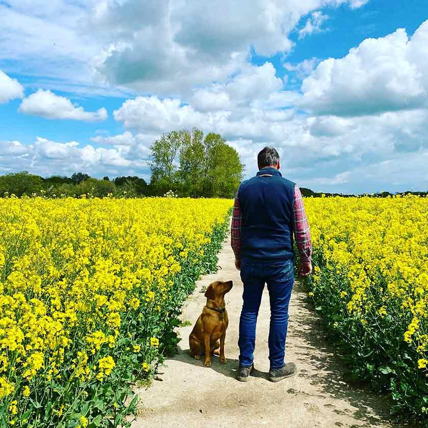 Simeon Morgan with his dog